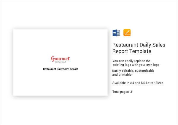 restaurant daily sales report design example
