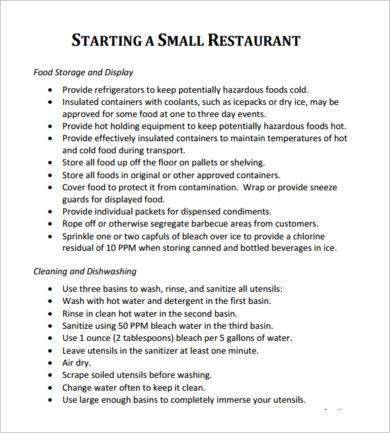 restaurant establishment plan example1