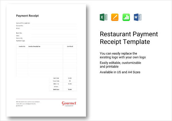 restaurant payment receipt example