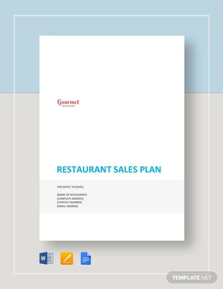 restaurant sales plan template1