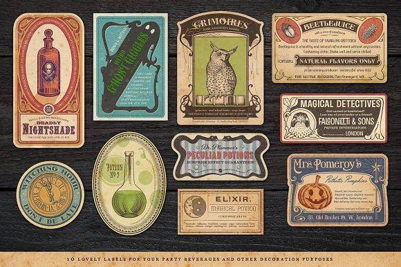 retro halloween ticket kit