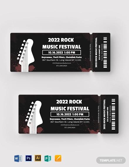 rock festival ticket template