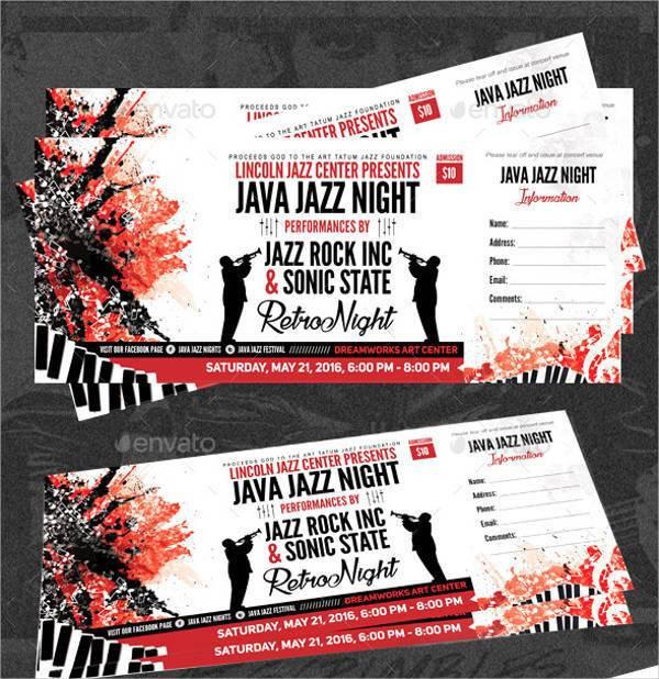 rock music event ticket design example