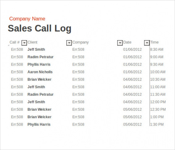 sales call log report example