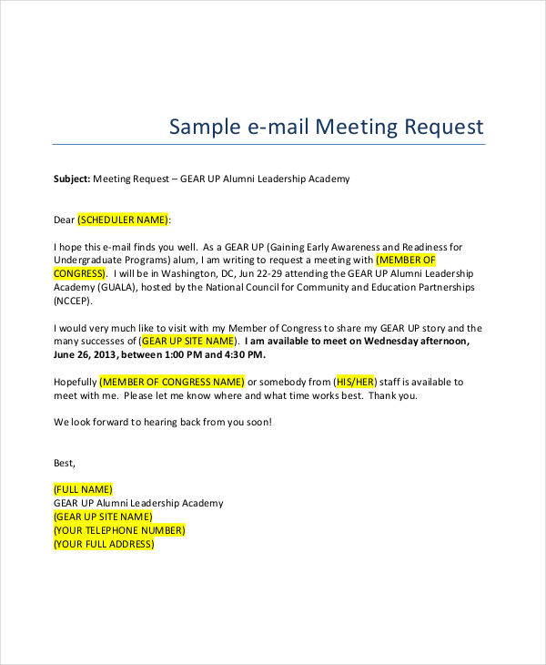 sample email writing request