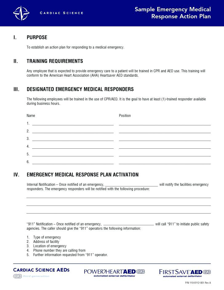sample emergency medical response action plan