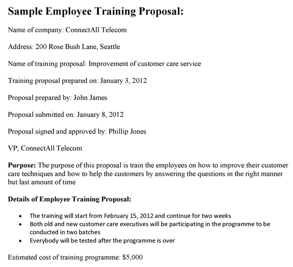 sample employee training proposal example