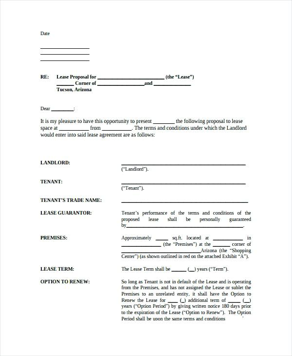 sample lease proposal in arizona