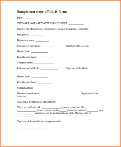 sample marriage affidavit form