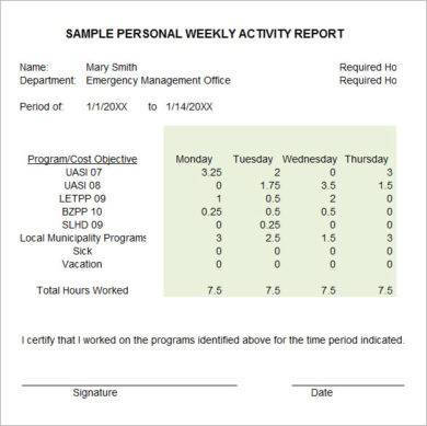 sample personal weekly activity report1