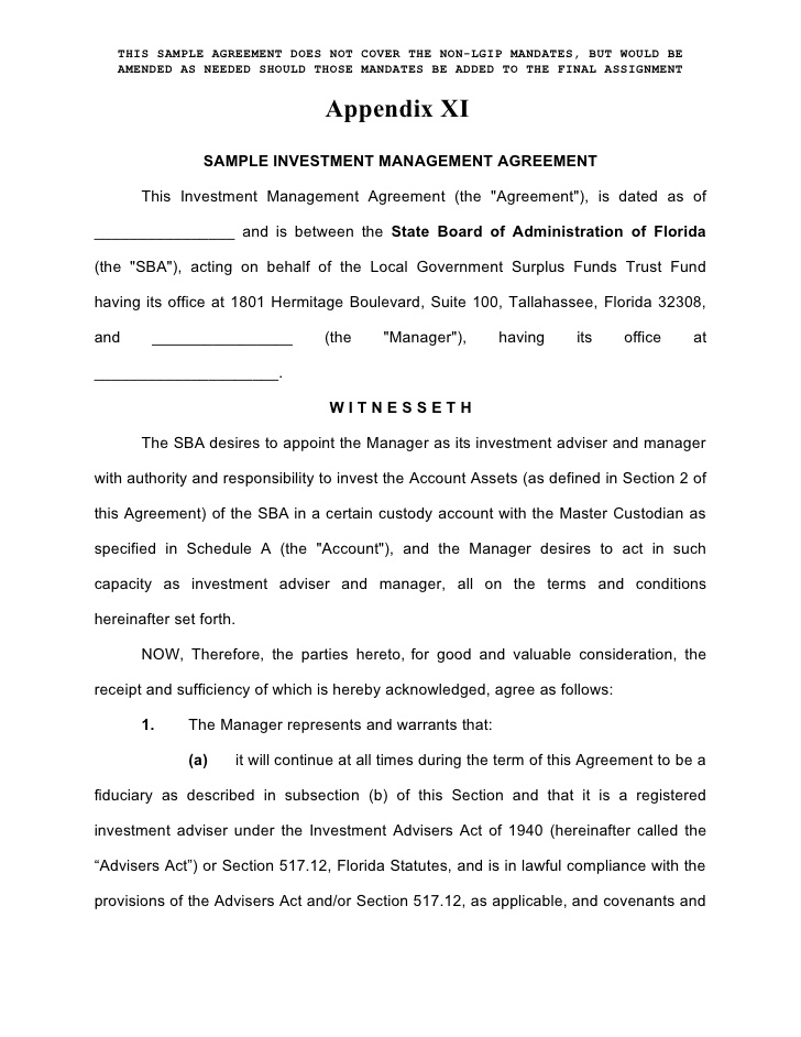 sample venture investment management agreement