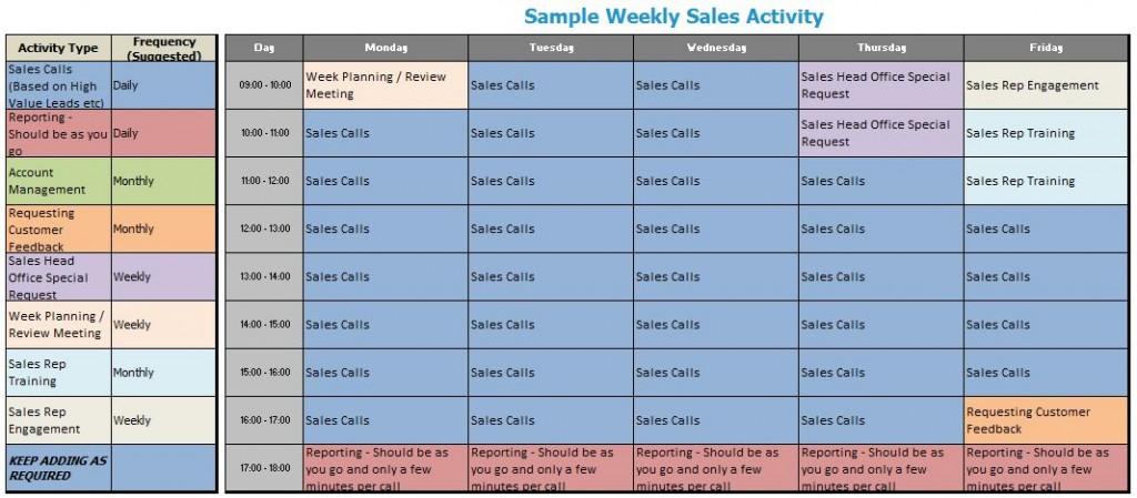 sample weekly sales activity plan