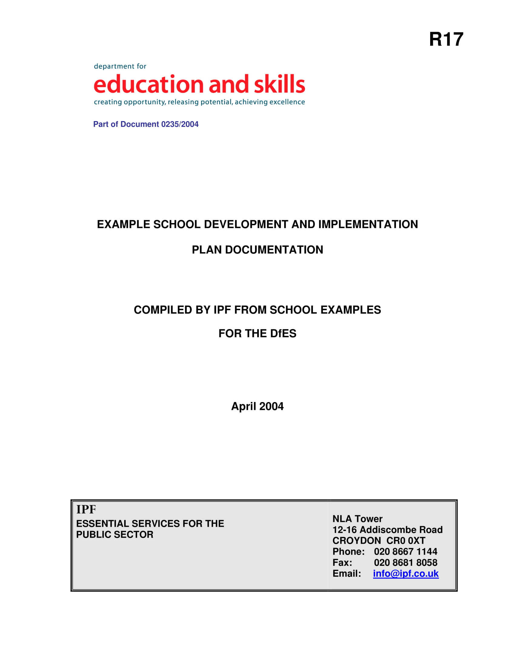 school development and implementation plan documentation for operations example 01