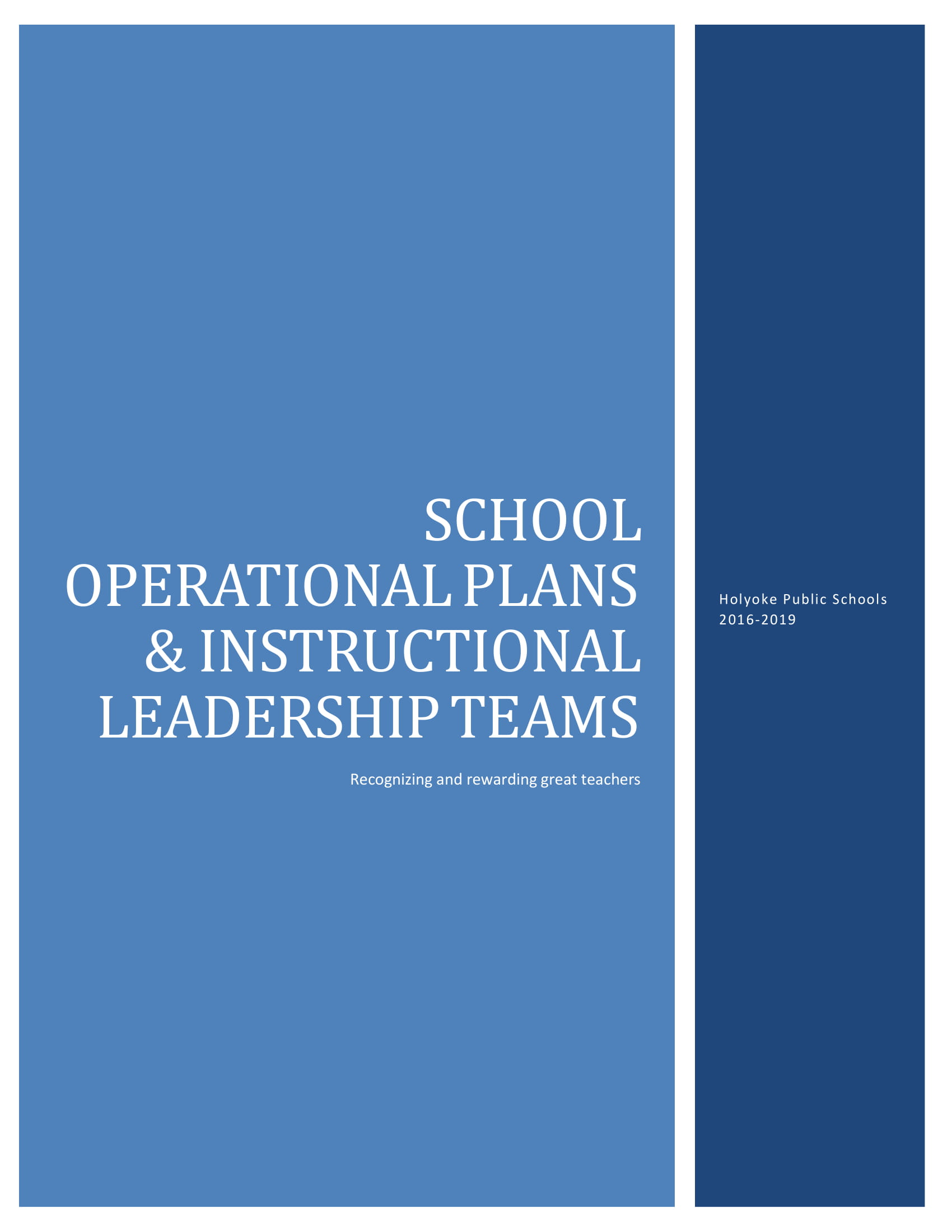 school operational plans and instructional leadership teams example 1