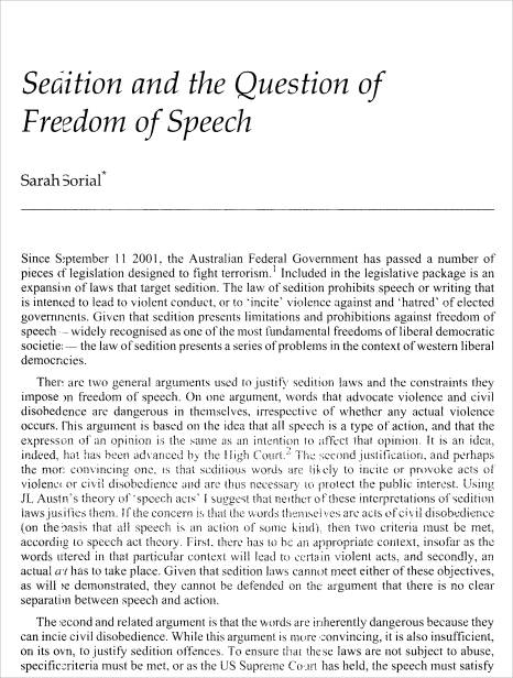 sedition and the question of freedom of speech