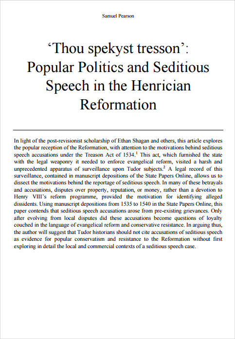 seditious speech in the henrician reformation