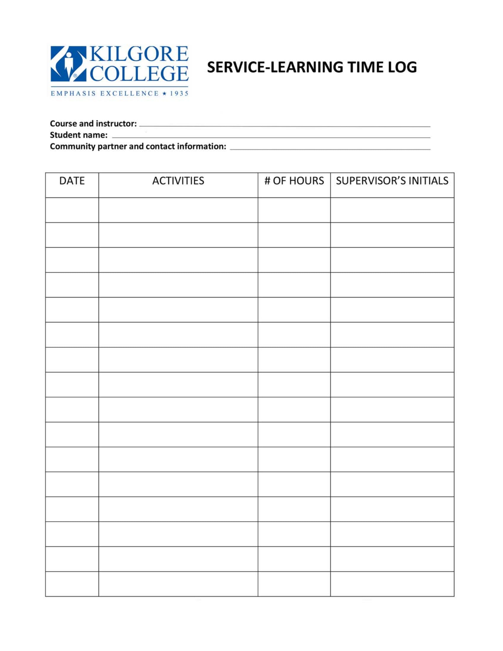service learning time log example