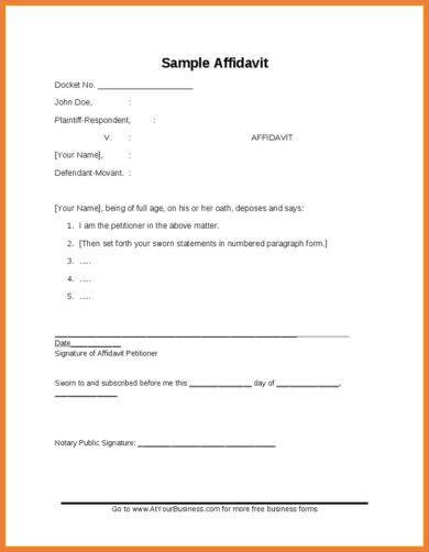 simple affidavit sample