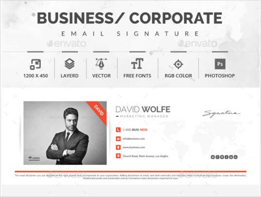 simple corporate marketing manager email signature example