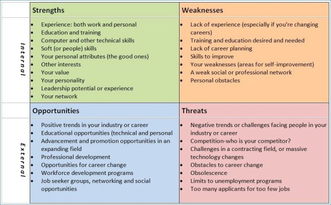 simple professional swot analysis example