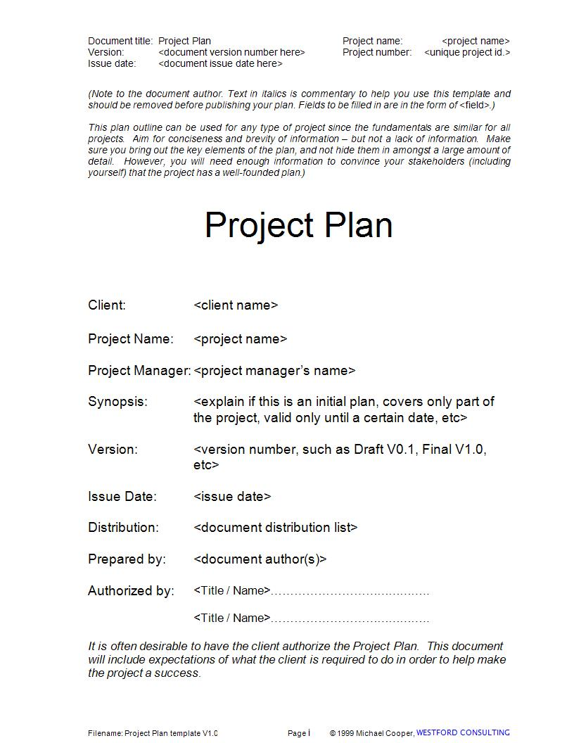 simple project plan template example