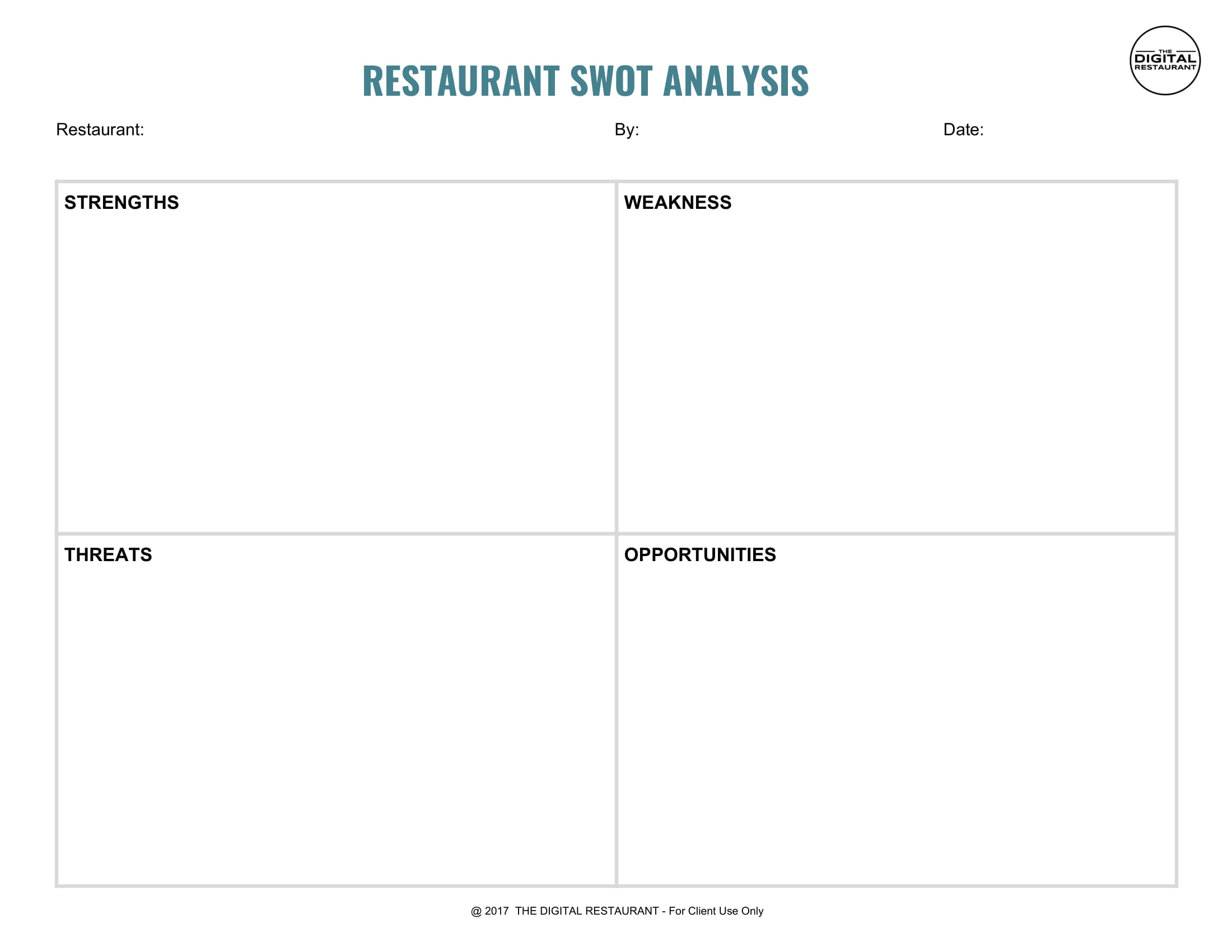 simple restaurant swot analysis template example 1