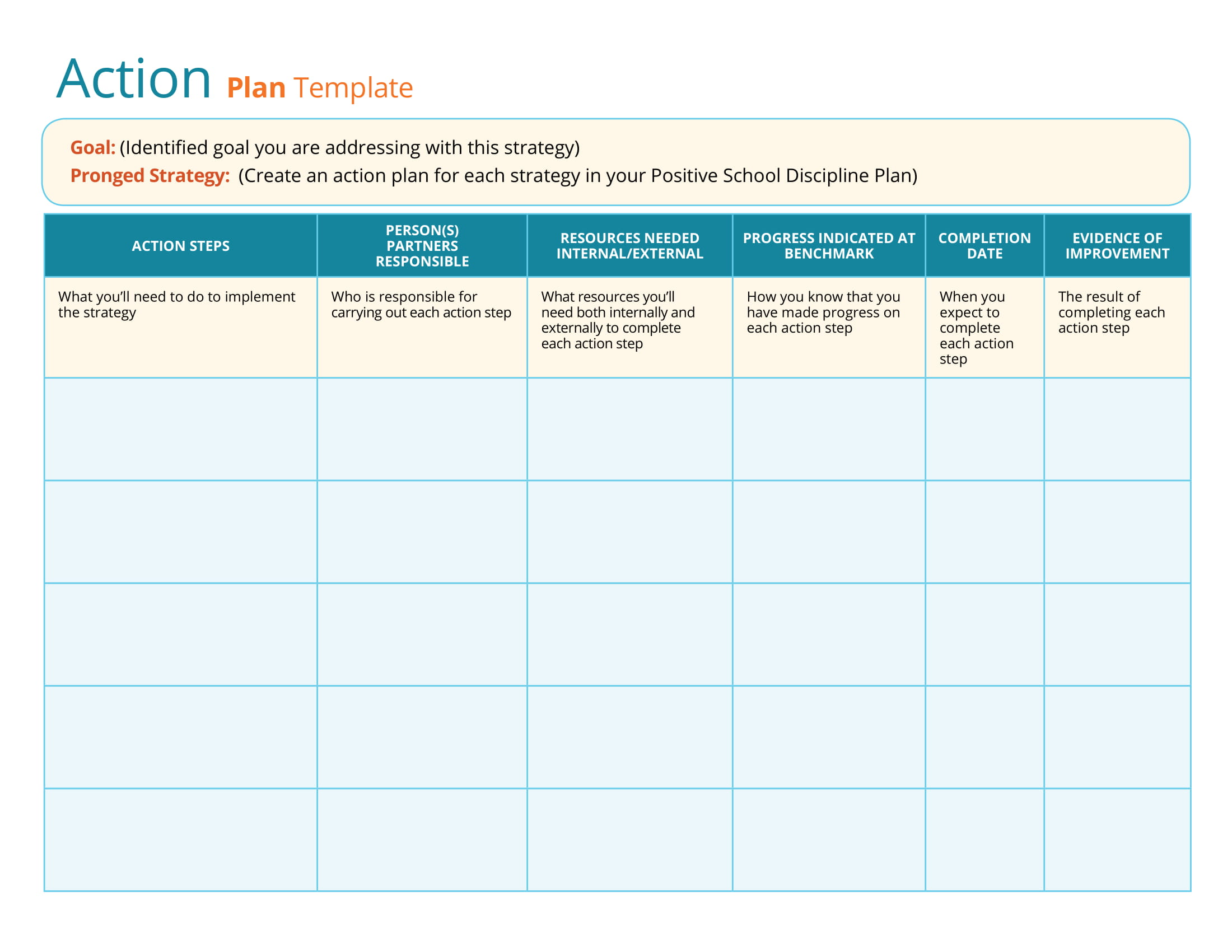 simple strategic action plan template example 1