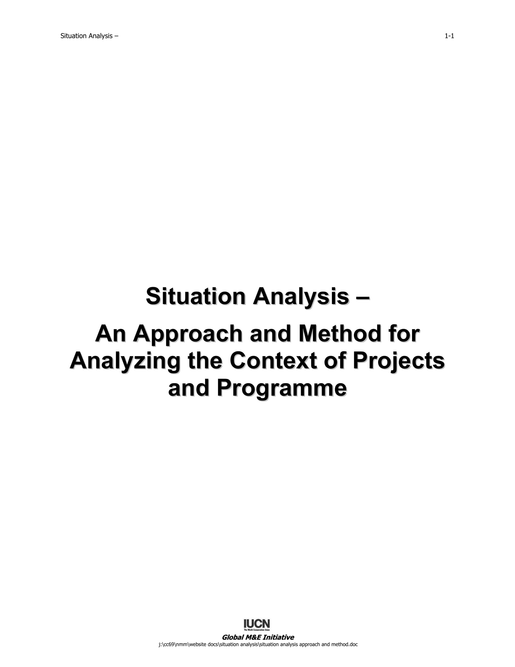 situation analysis an approach and method for analyzing the context of projects and programme example 01