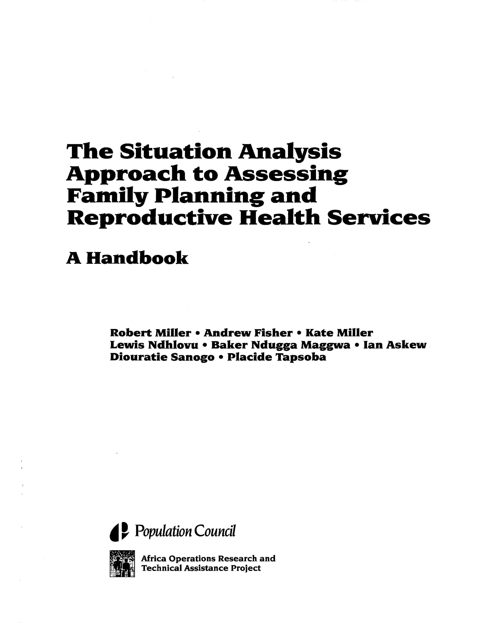 situation analysis approach to assessing family planning and reproductive health services example 001