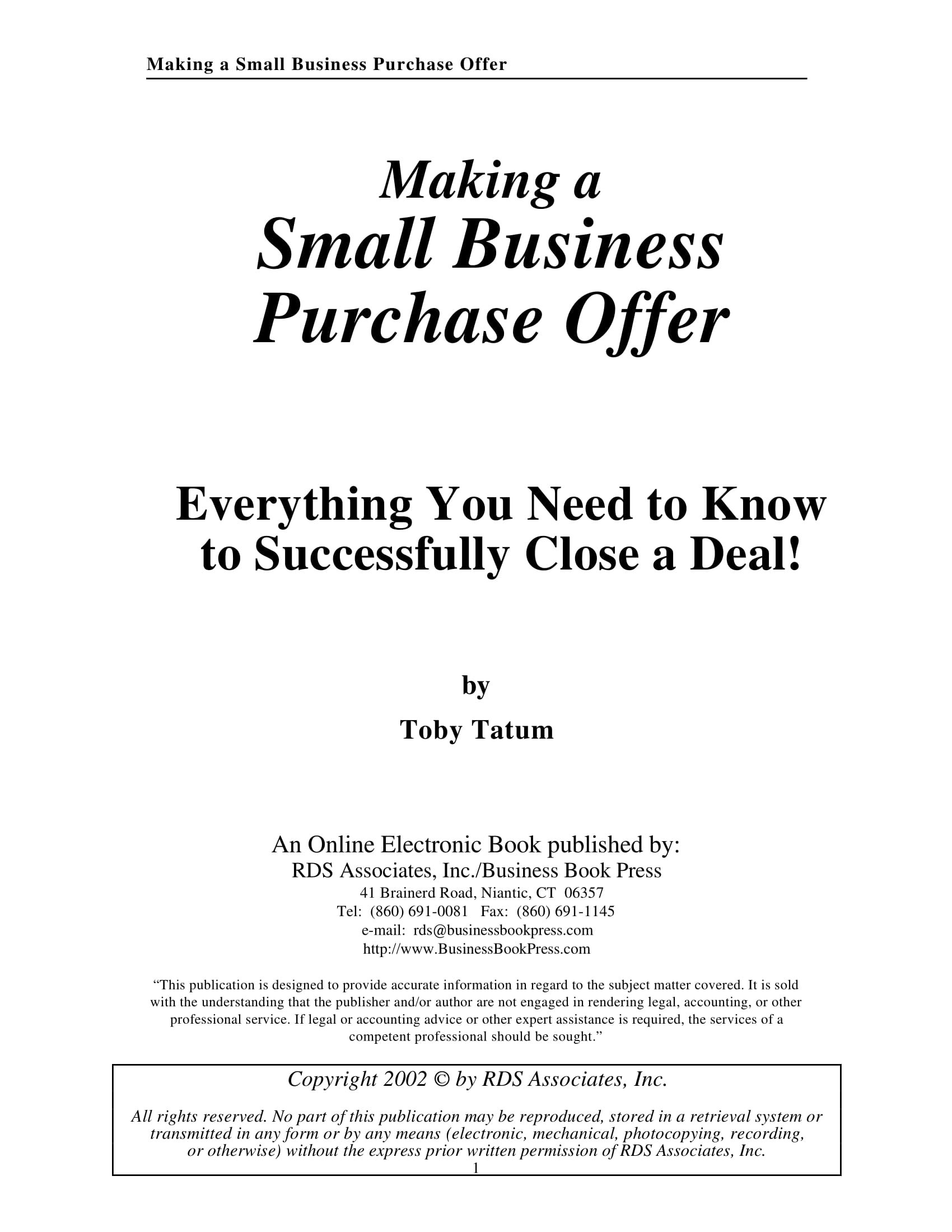 small business purchase offer example 001