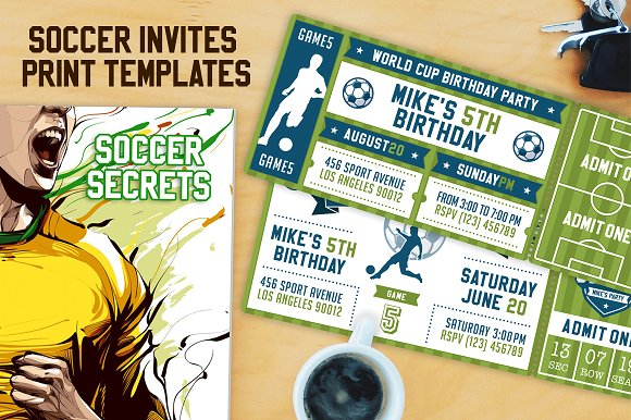 soccer themed birthday invitation ticket