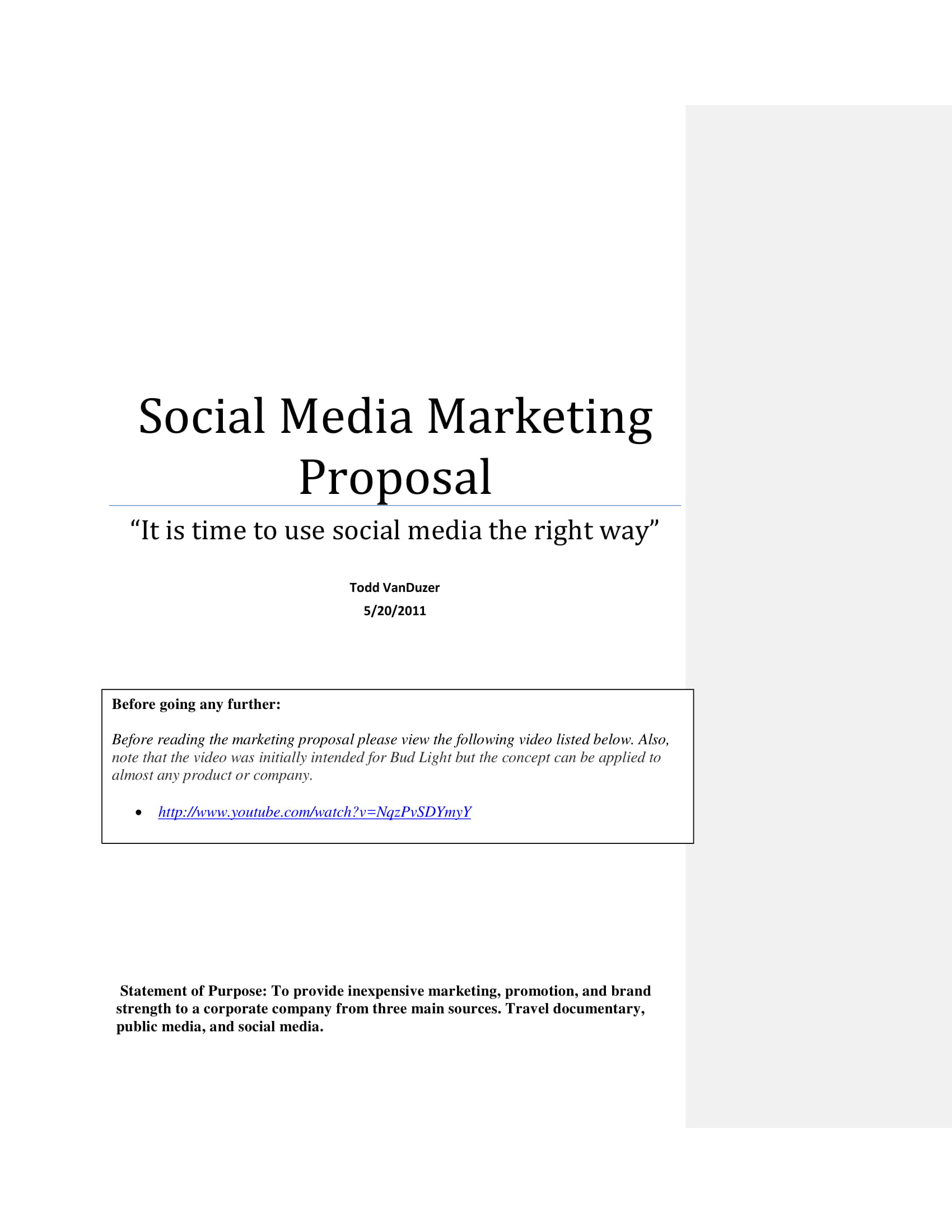 social media marketing campaign proposal example