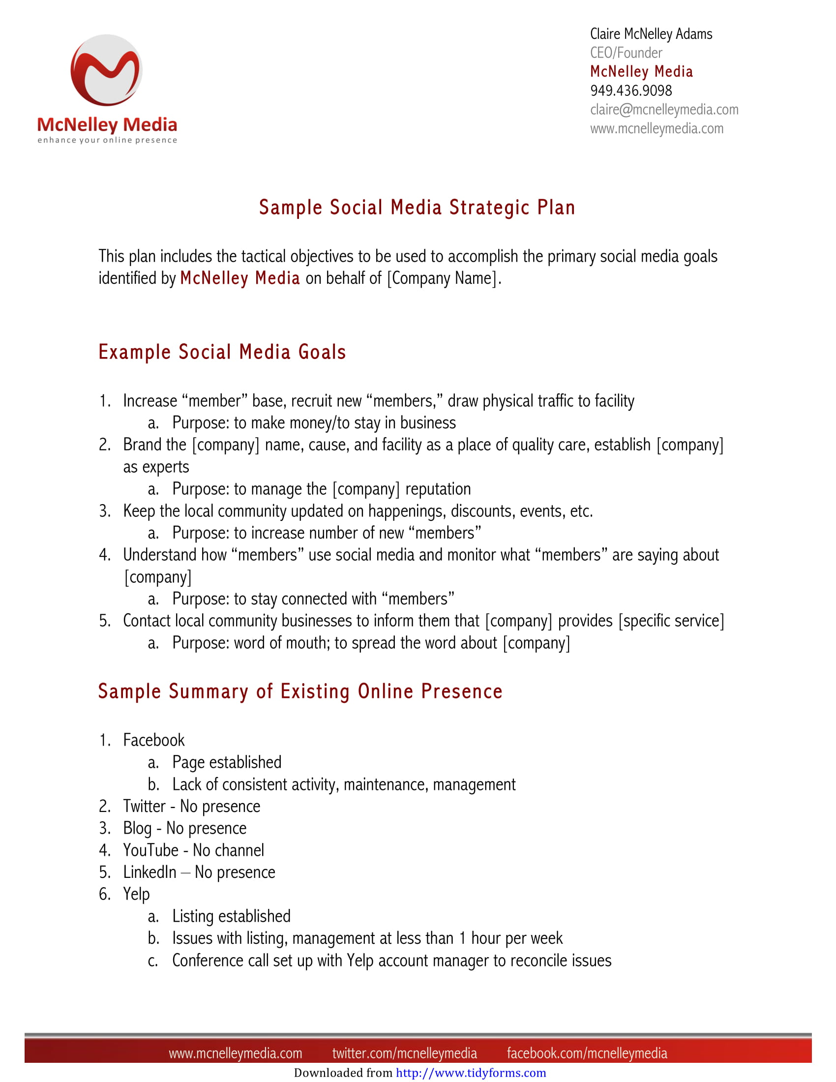 social media strategic action plan template example 1
