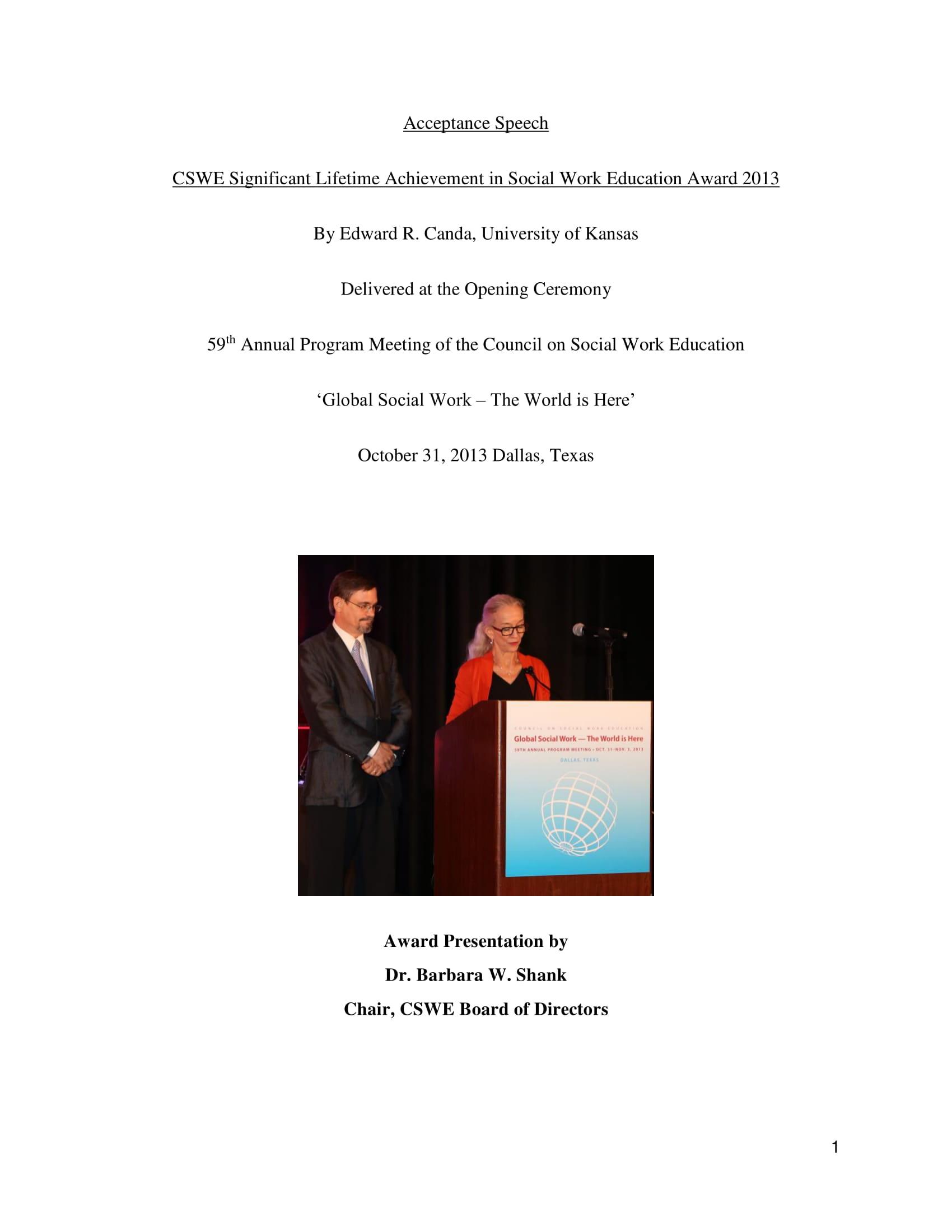 social work education award acceptance speech example