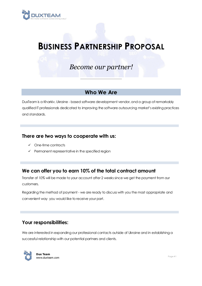 software outsourcing business partnership proposal example