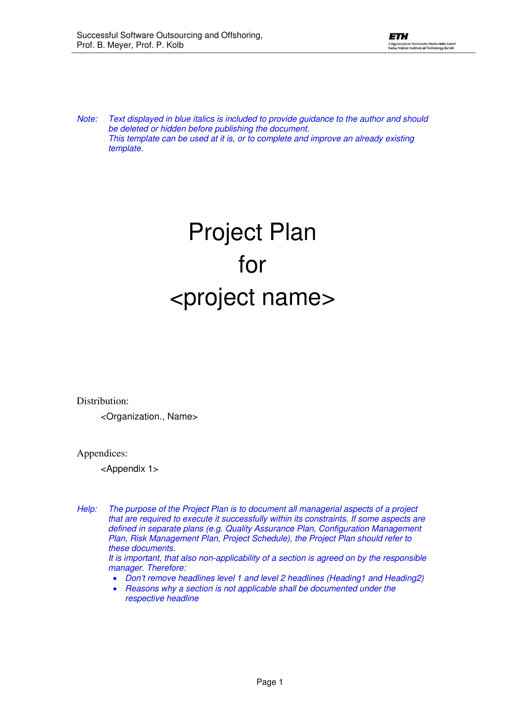 software project plan template example