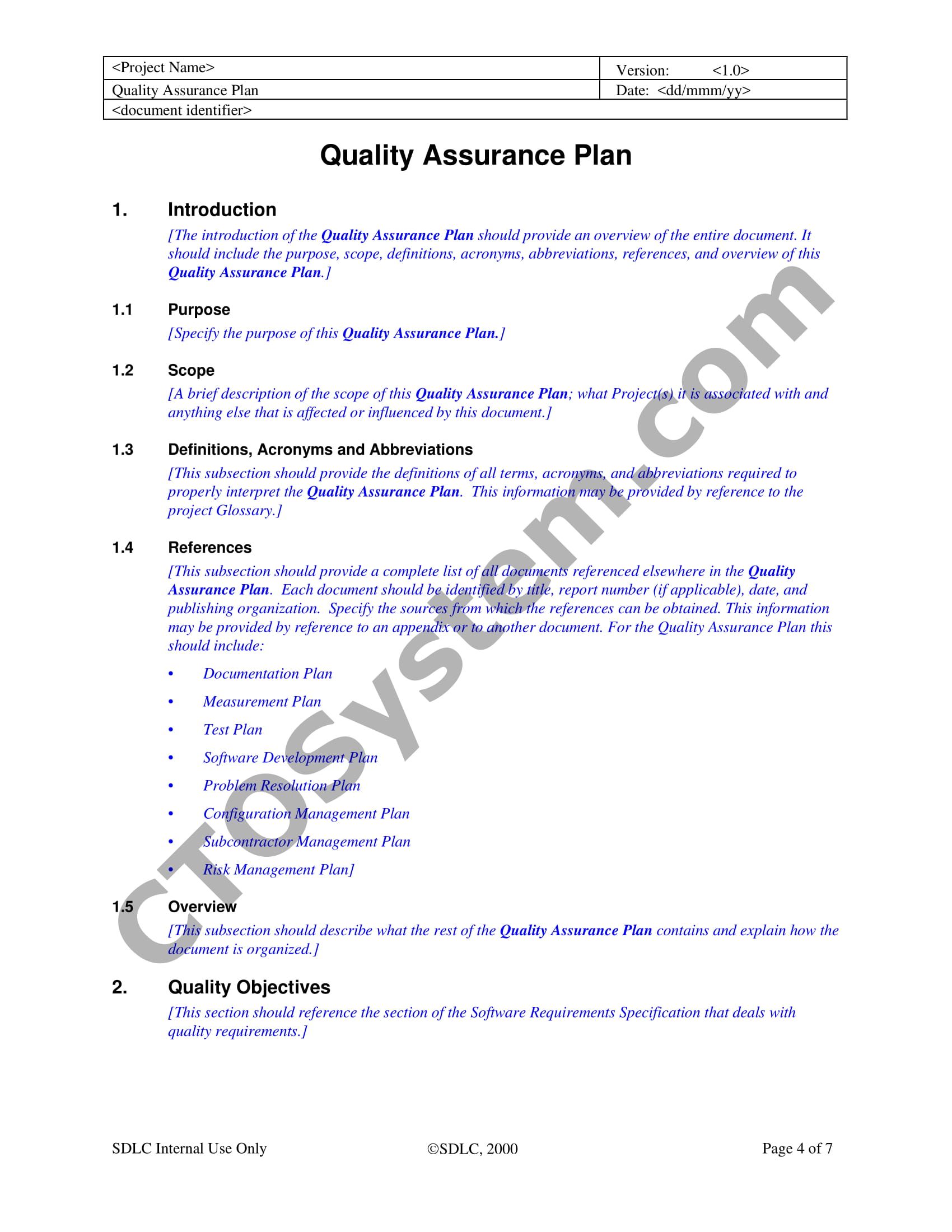 software quality assurance plan guidelines example