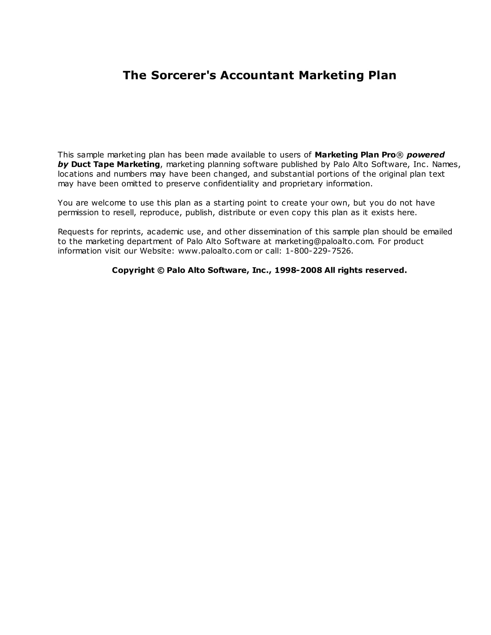 sorcerers accountant marketing plan example
