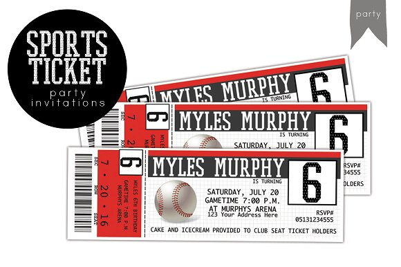 sports themed birthday invitation ticket