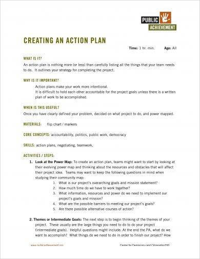 standard one page action plan example1