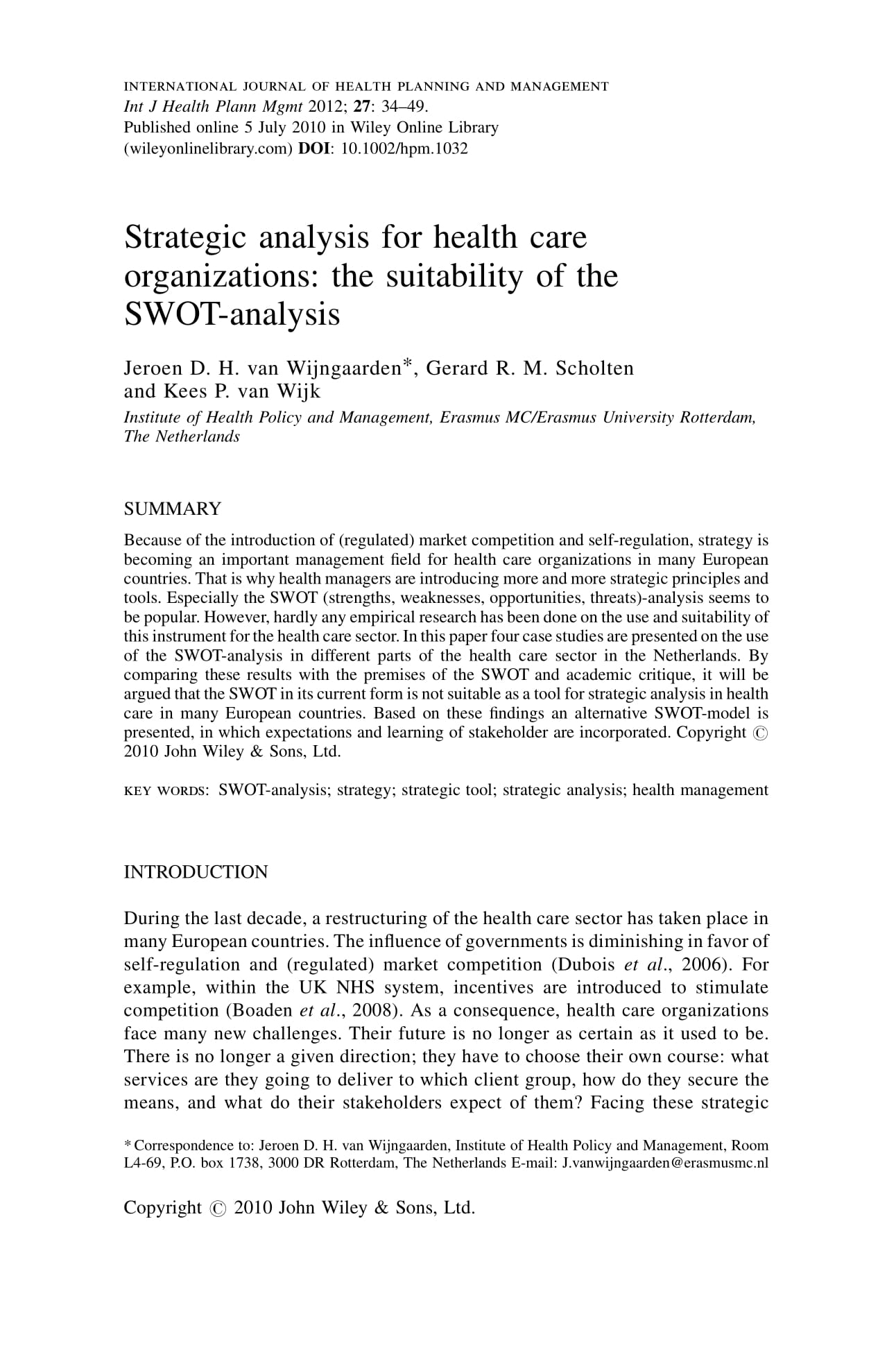 strategic analysis for health care organizations the suitability of the swot analysis example 01
