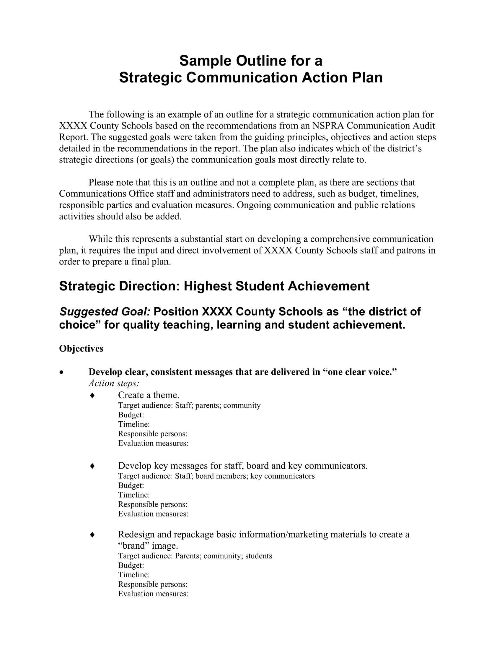 strategic communication action plan outline example 01