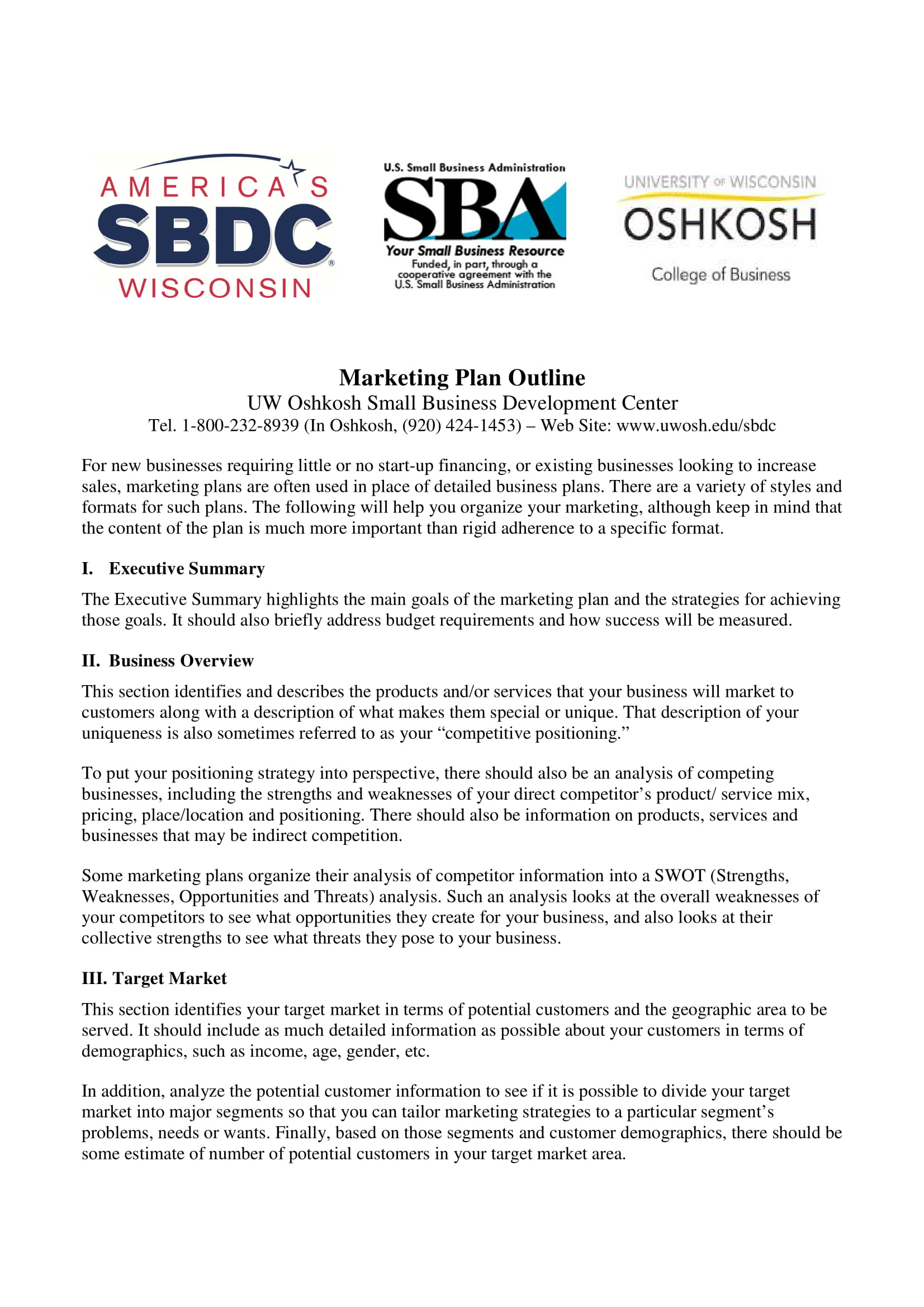 strategic marketing plan outline template example 1