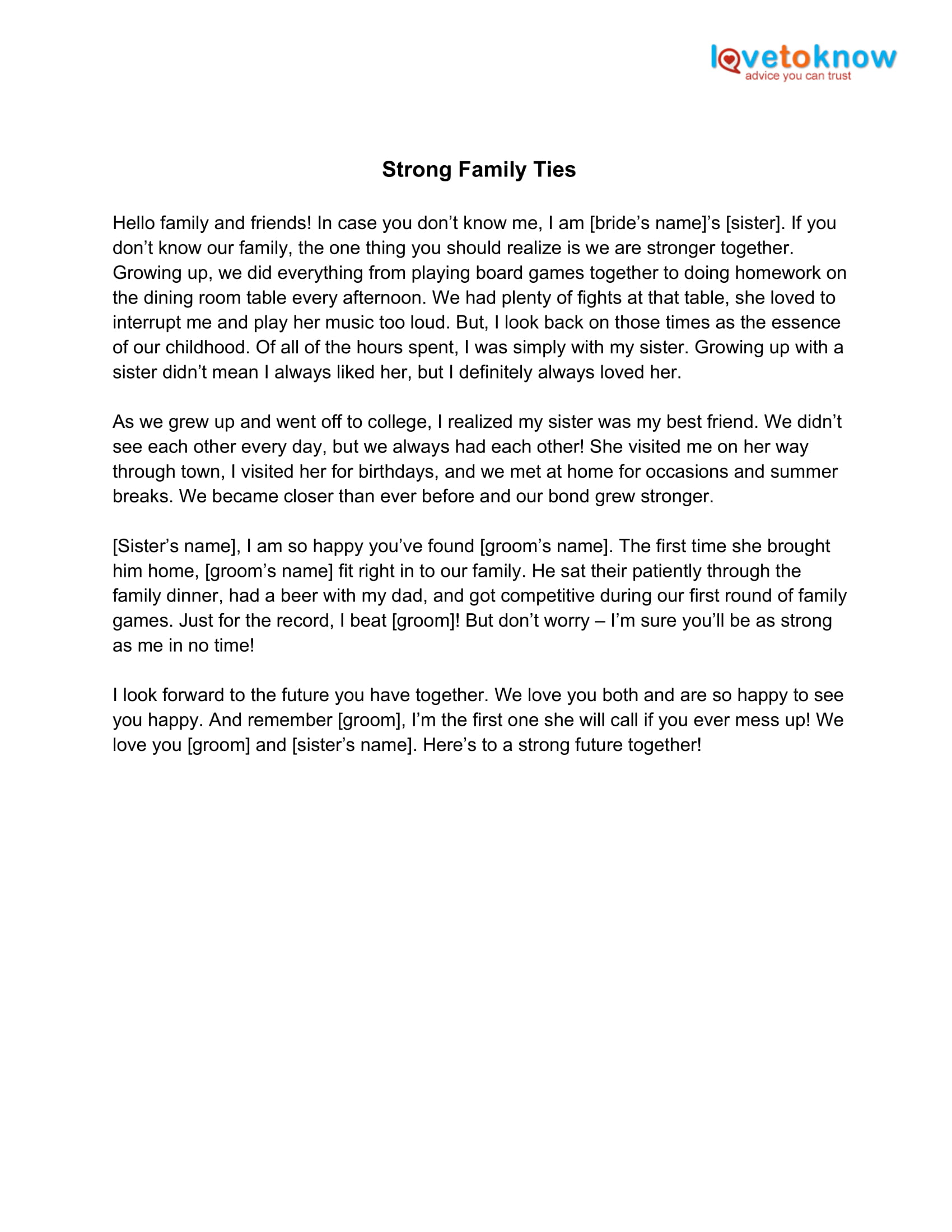 strong family ties maid of honor speech example