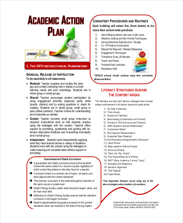 student academic action plan example