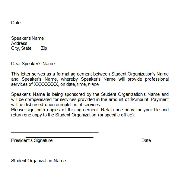student contract agreement letter example