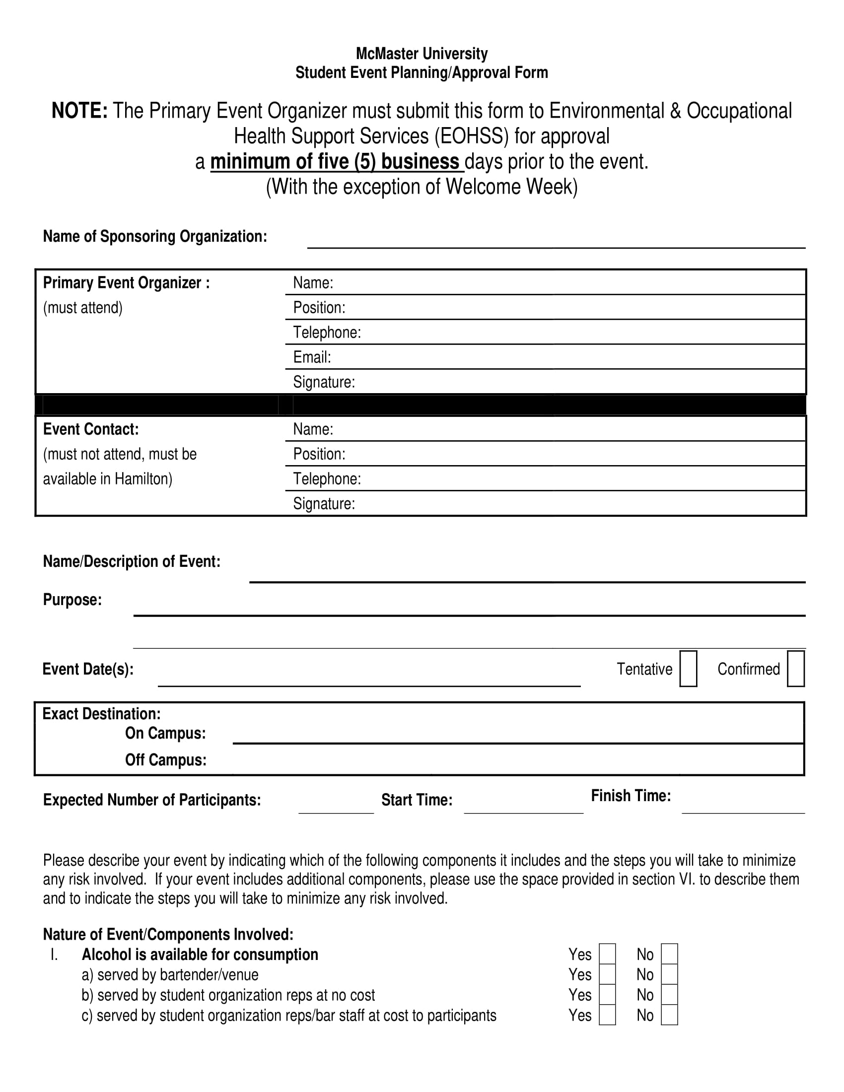 student event planning approval form example