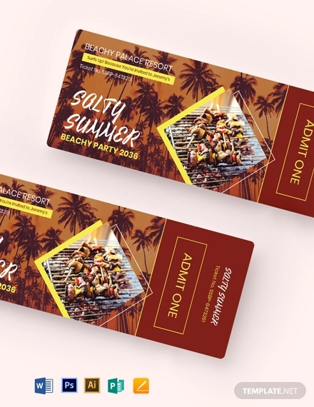 summer bbq party ticket template
