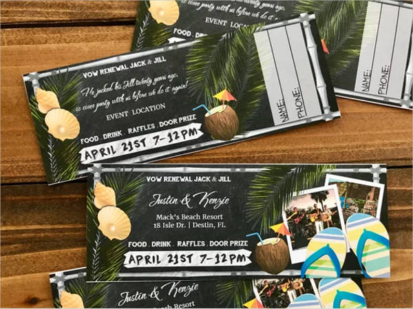 summer beach party ticket design example