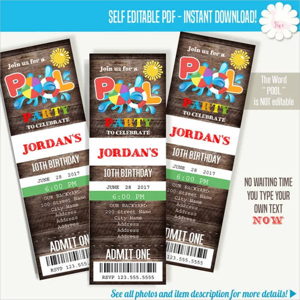 summer pool party ticket invitation design example